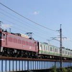 蒲須坂にてE231系配給を撮影